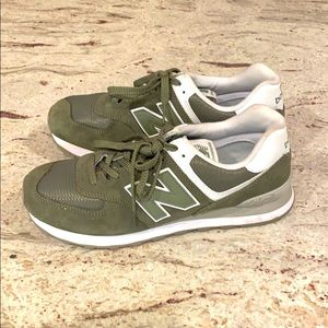 Like New - women's New Balance 574 in olive green.